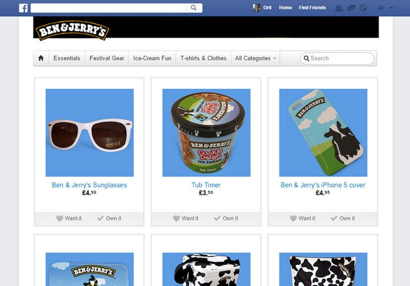 Facebook page online shop